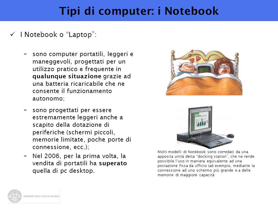 """Tipi di computer: i Notebook I Notebook o """"Laptop"""": –sono computer portatili, leggeri e maneggevoli, progettati per un utilizzo pratico e frequente in"""