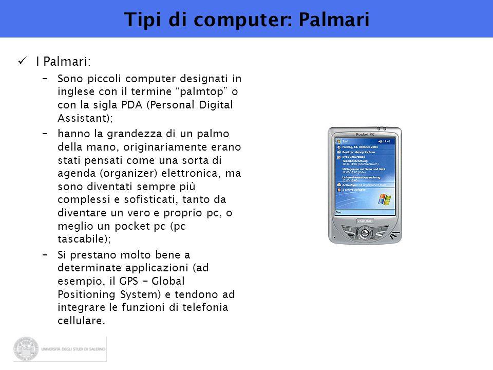 """Tipi di computer: Palmari I Palmari: –Sono piccoli computer designati in inglese con il termine """"palmtop"""" o con la sigla PDA (Personal Digital Assista"""