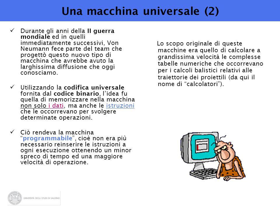 Una macchina universale (2) Durante gli anni della II guerra mondiale ed in quelli immediatamente successivi, Von Neumann fece parte del team che progettò questo nuovo tipo di macchina che avrebbe avuto la larghissima diffusione che oggi conosciamo.