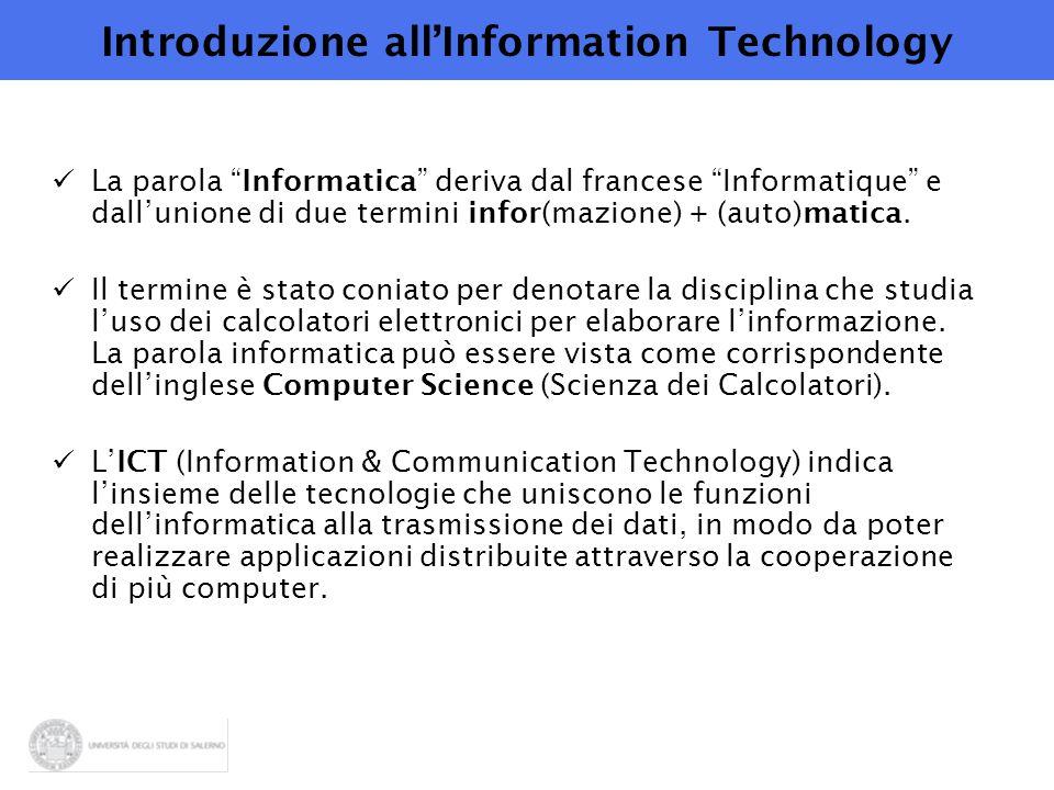Introduzione all'Information Technology La parola Informatica deriva dal francese Informatique e dall'unione di due termini infor(mazione) + (auto)matica.