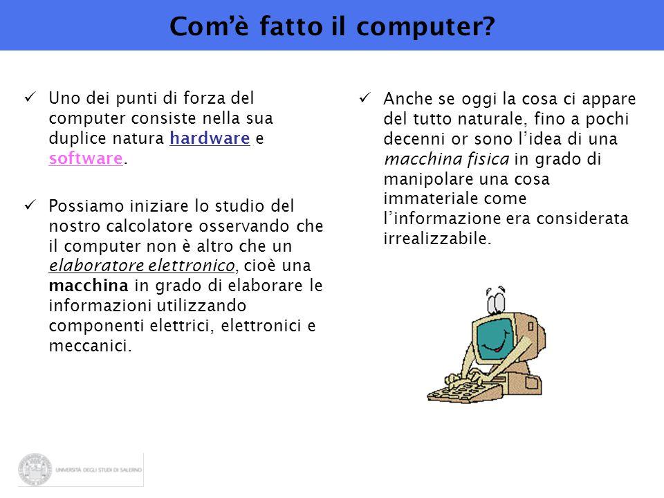 Com'è fatto il computer? Uno dei punti di forza del computer consiste nella sua duplice natura hardware e software. Possiamo iniziare lo studio del no