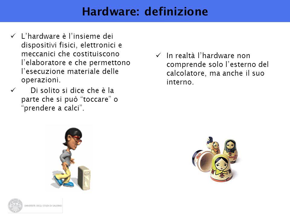 Hardware: definizione L'hardware è l'insieme dei dispositivi fisici, elettronici e meccanici che costituiscono l'elaboratore e che permettono l'esecuzione materiale delle operazioni.