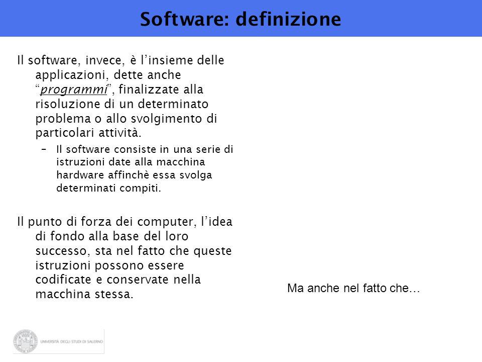 Software: definizione Il software, invece, è l'insieme delle applicazioni, dette anche programmi , finalizzate alla risoluzione di un determinato problema o allo svolgimento di particolari attività.
