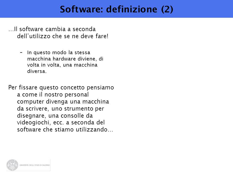 Software: definizione (2) …Il software cambia a seconda dell'utilizzo che se ne deve fare! –In questo modo la stessa macchina hardware diviene, di vol