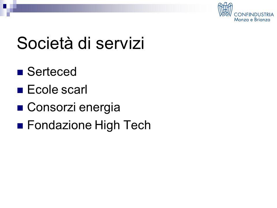 Società di servizi Serteced Ecole scarl Consorzi energia Fondazione High Tech