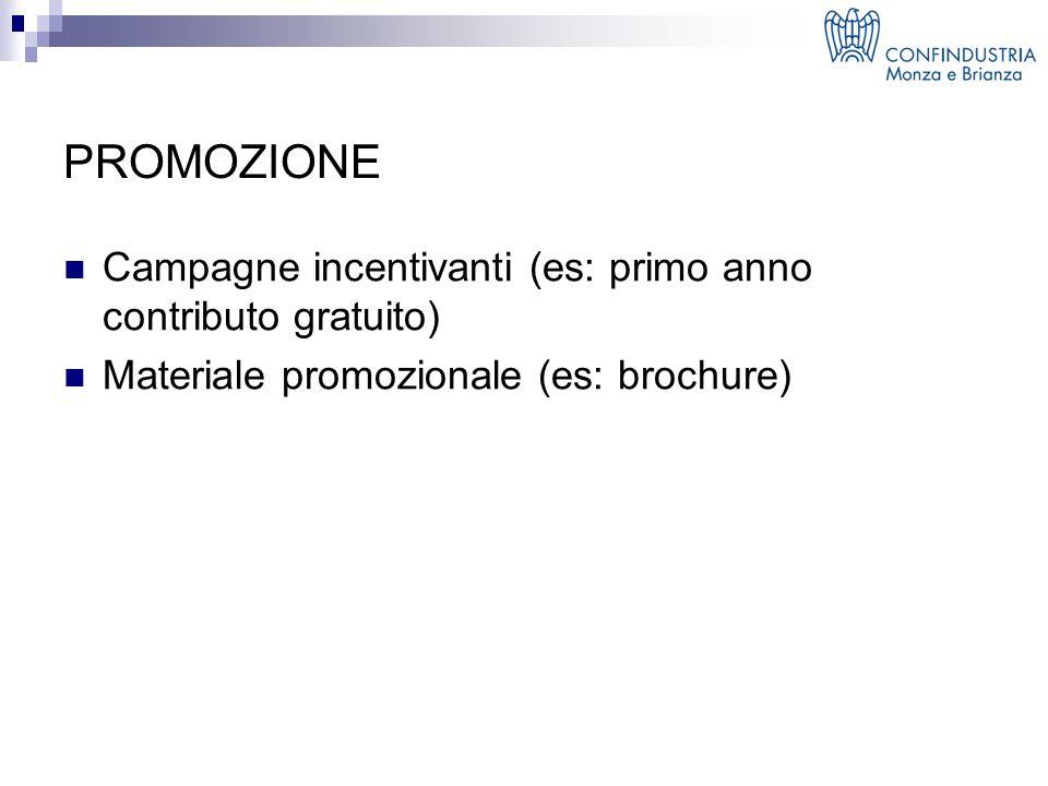 PROMOZIONE Campagne incentivanti (es: primo anno contributo gratuito) Materiale promozionale (es: brochure)