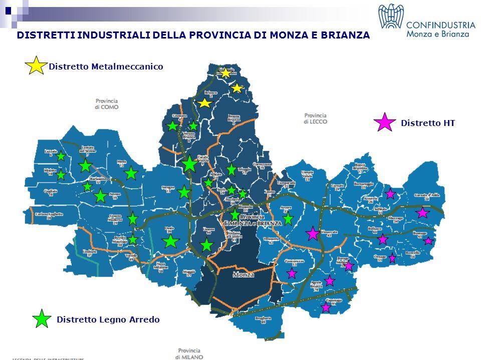 DISTRETTI INDUSTRIALI DELLA PROVINCIA DI MONZA E BRIANZA Distretto Metalmeccanico Distretto HT Distretto Legno Arredo