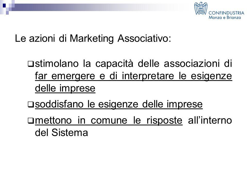 Le azioni di Marketing Associativo:  stimolano la capacità delle associazioni di far emergere e di interpretare le esigenze delle imprese  soddisfano le esigenze delle imprese  mettono in comune le risposte all'interno del Sistema