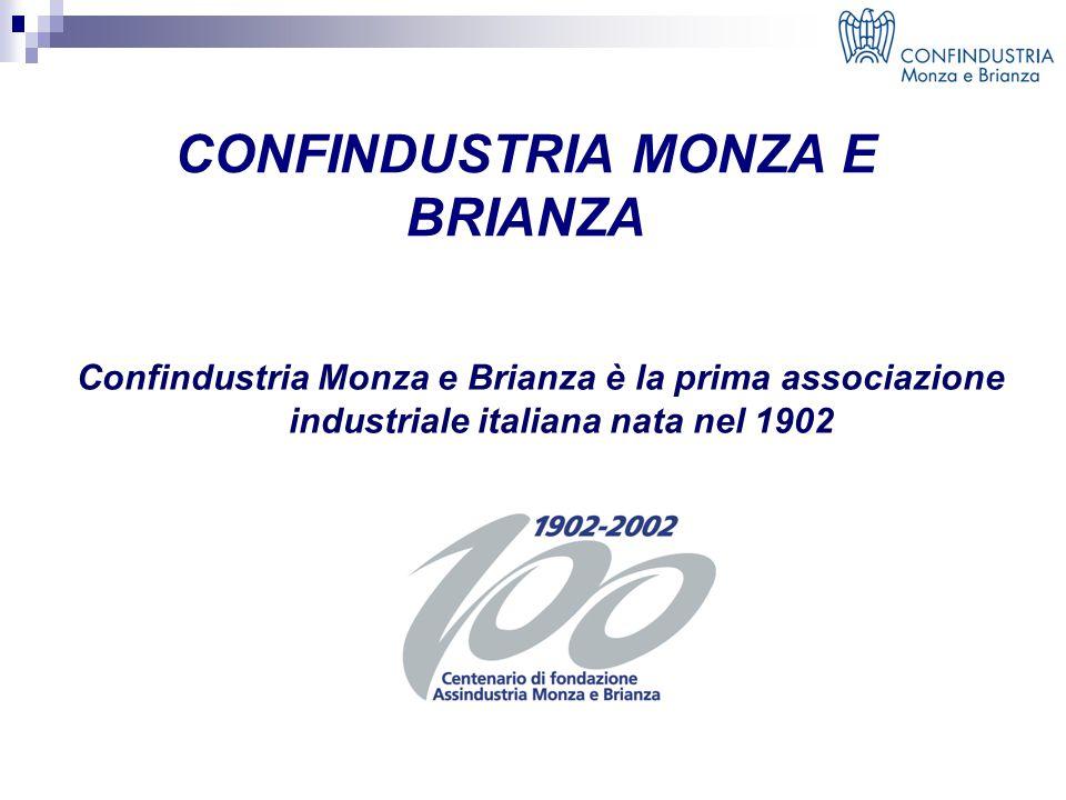 CONFINDUSTRIA MONZA E BRIANZA Confindustria Monza e Brianza è la prima associazione industriale italiana nata nel 1902