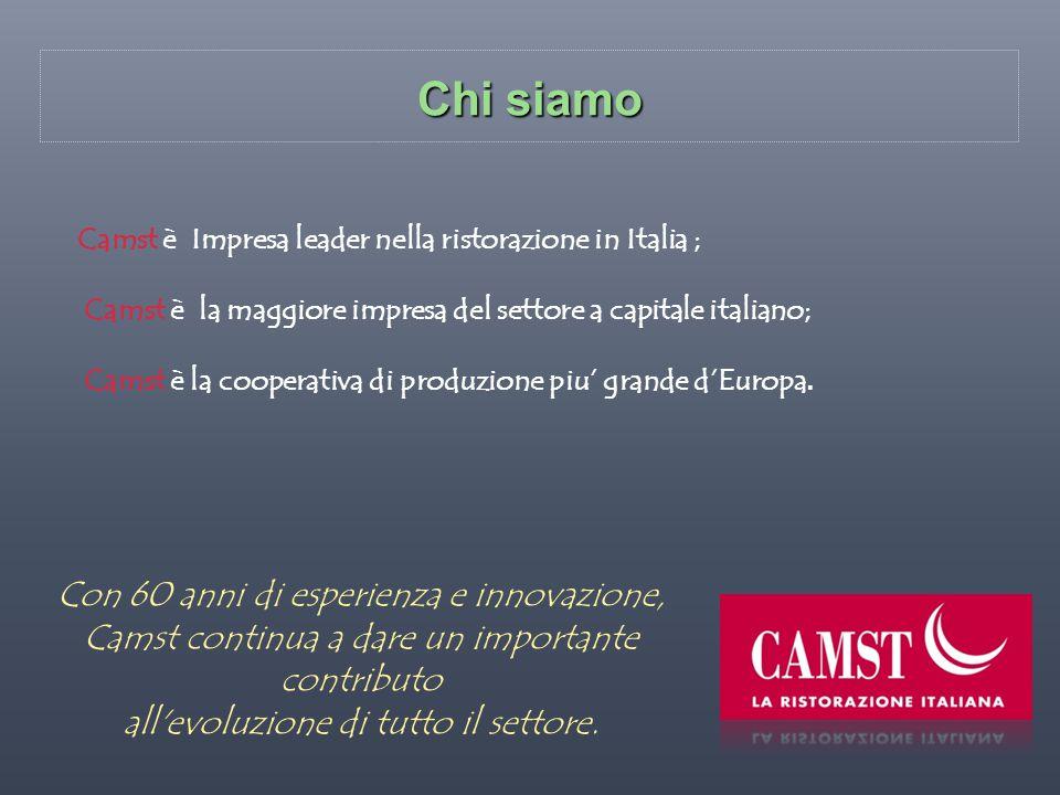 Chi siamo Camst è Impresa leader nella ristorazione in Italia ; Camst è la maggiore impresa del settore a capitale italiano; Camst è la cooperativa di