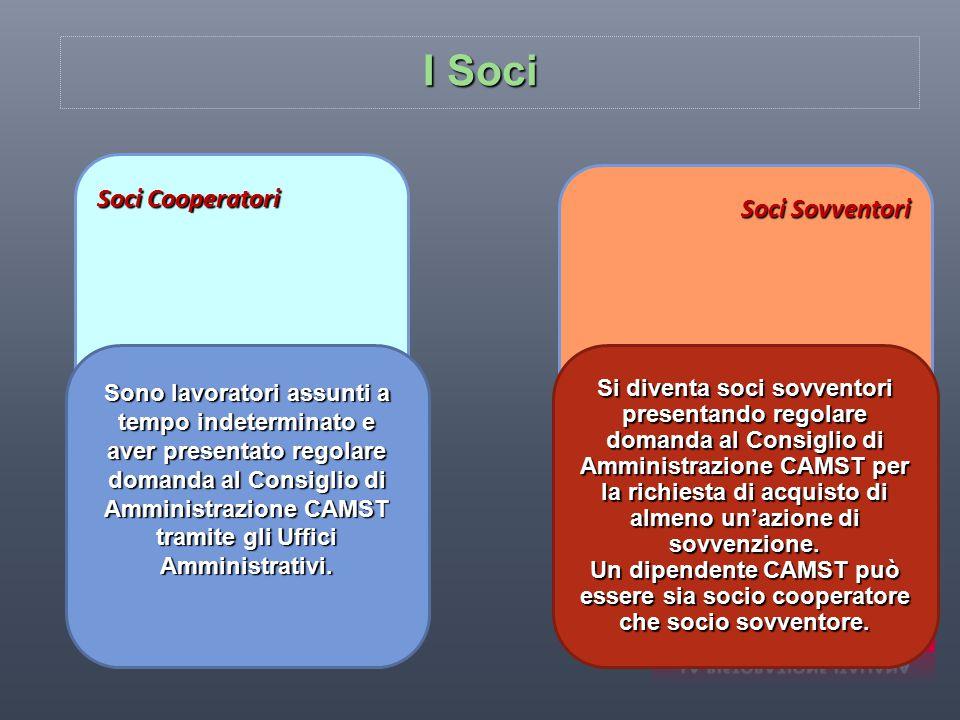I Soci Soci Cooperatori Sono lavoratori assunti a tempo indeterminato e aver presentato regolare domanda al Consiglio di Amministrazione CAMST tramite