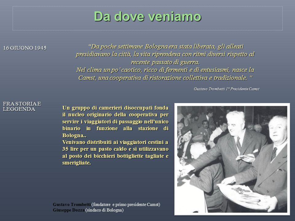 LO SVILUPPO: le tappe della crescita comincia la propria attività a Bologna nel 1945 Camst comincia la propria attività a Bologna nel 1945, costituendosi in cooperativa basata su principi sociali e imprenditoriali, inaugurando così, un nuovo corso nel settore della ristorazione in Italia.