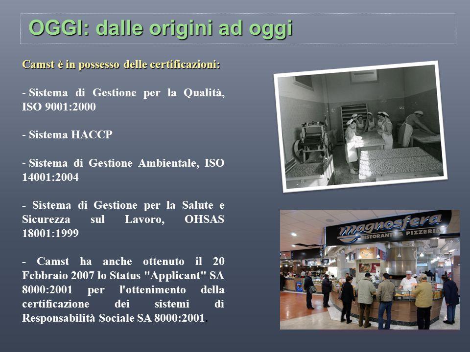 OGGI: dalle origini ad oggi Camst è in possesso delle certificazioni: - Sistema di Gestione per la Qualità, ISO 9001:2000 - Sistema HACCP - Sistema di