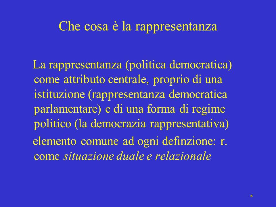 6 Che cosa è la rappresentanza La rappresentanza (politica democratica) come attributo centrale, proprio di una istituzione (rappresentanza democratica parlamentare) e di una forma di regime politico (la democrazia rappresentativa) elemento comune ad ogni definzione: r.