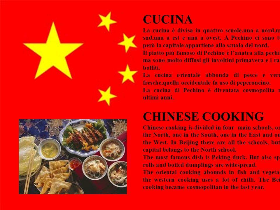 19 CUCINA La cucina è divisa in quattro scuole,una a nord,una a sud,una a est e una a ovest. A Pechino ci sono tutte, però la capitale appartiene alla