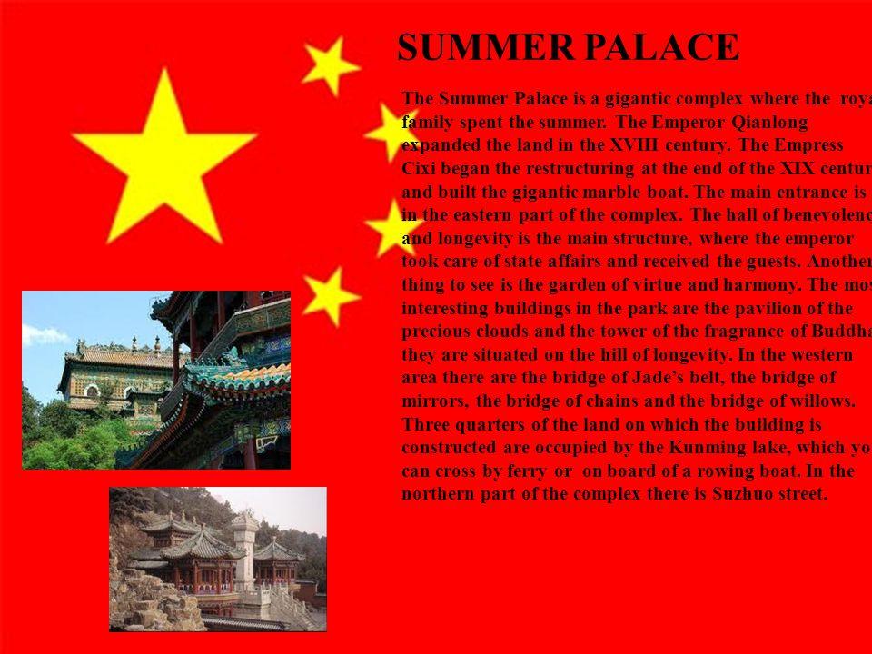 6 Primo argomento Esposizione dell'argomento Ulteriori informazioni ed esempi Rilevanza per il pubblico The Summer Palace is a gigantic complex where