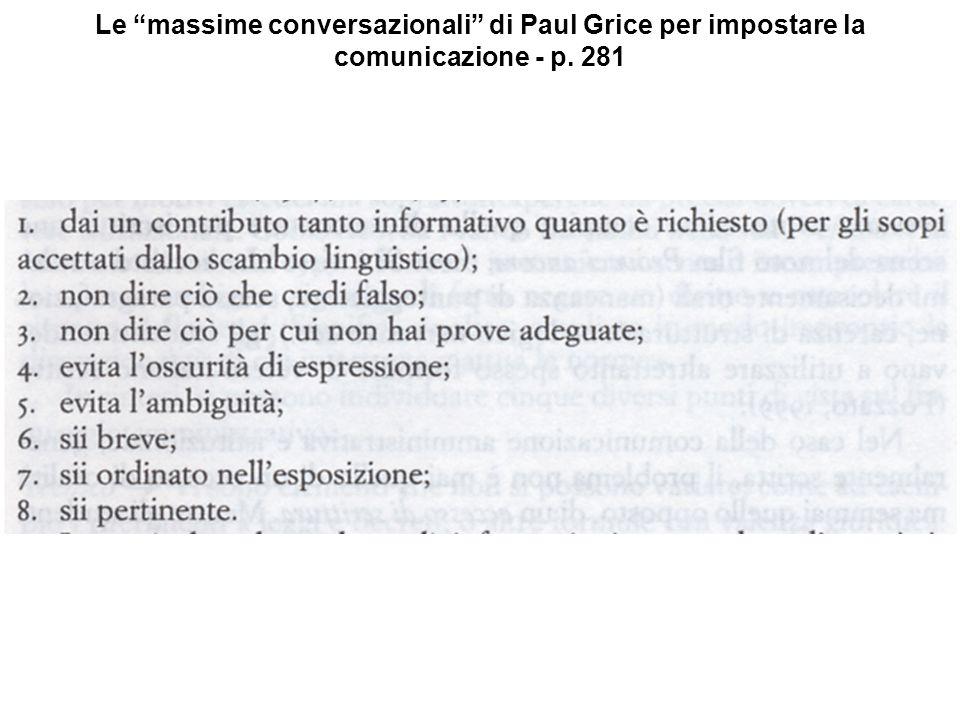 Le massime conversazionali di Paul Grice per impostare la comunicazione - p. 281