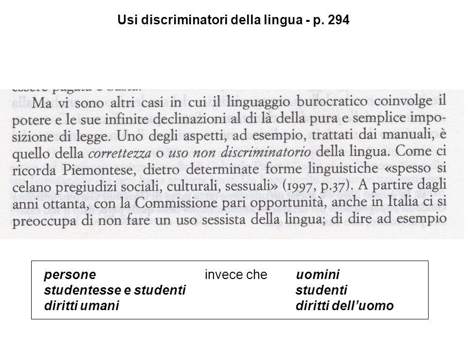 Usi discriminatori della lingua - p.