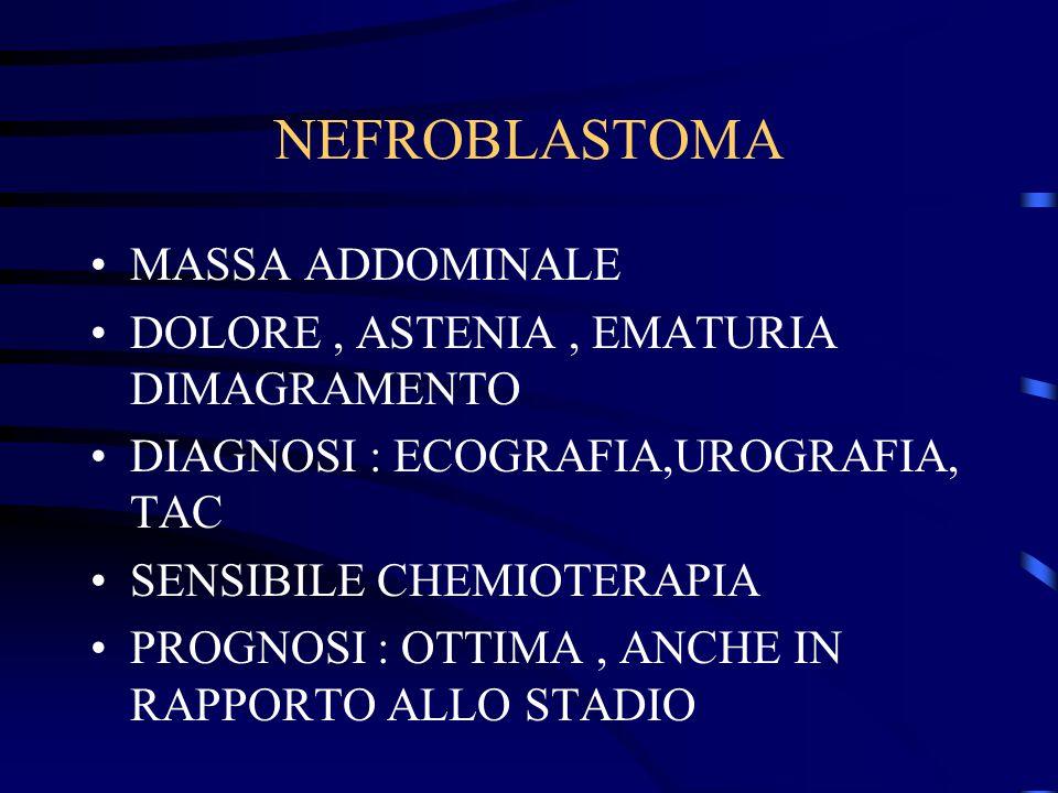 NEFROBLASTOMA MASSA ADDOMINALE DOLORE, ASTENIA, EMATURIA DIMAGRAMENTO DIAGNOSI : ECOGRAFIA,UROGRAFIA, TAC SENSIBILE CHEMIOTERAPIA PROGNOSI : OTTIMA, A