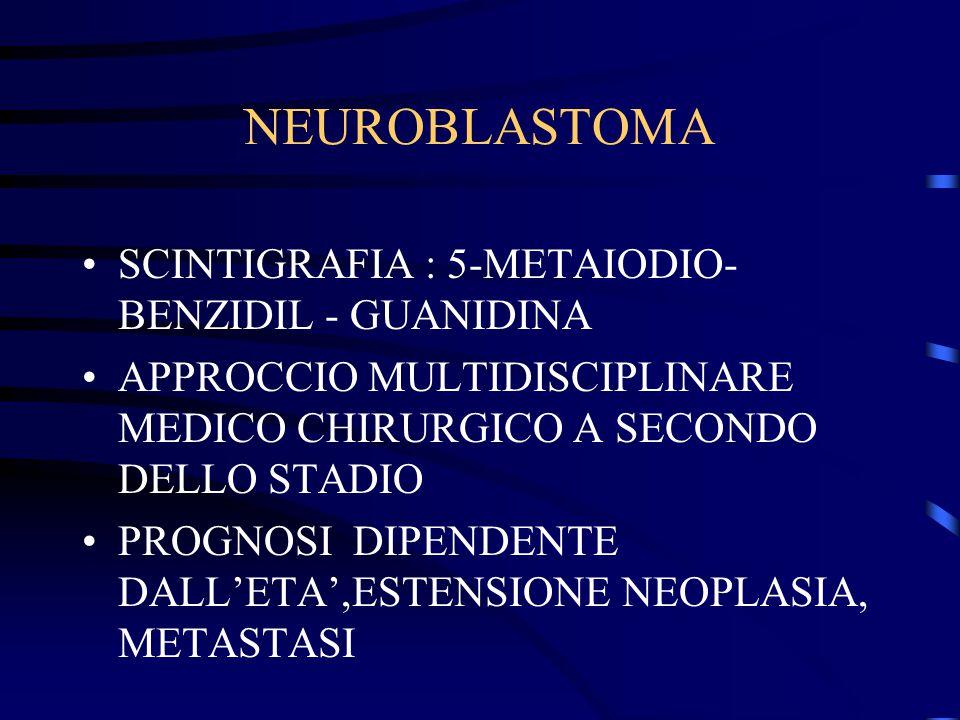 NEUROBLASTOMA SCINTIGRAFIA : 5-METAIODIO- BENZIDIL - GUANIDINA APPROCCIO MULTIDISCIPLINARE MEDICO CHIRURGICO A SECONDO DELLO STADIO PROGNOSI DIPENDENT