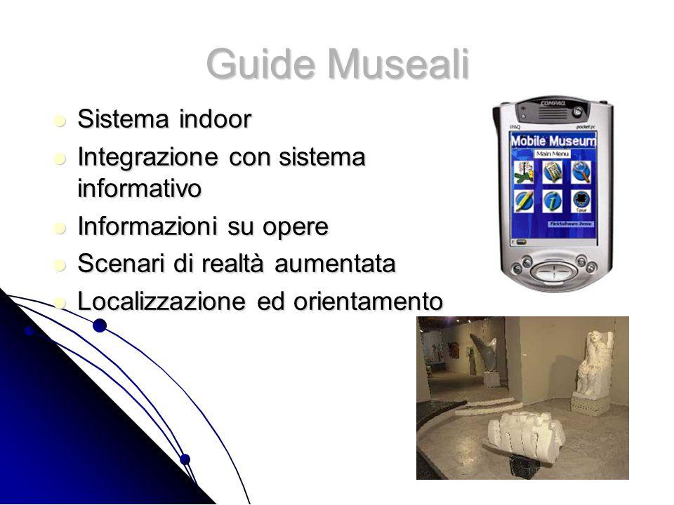 Guide Museali Sistema indoor Sistema indoor Integrazione con sistema informativo Integrazione con sistema informativo Informazioni su opere Informazioni su opere Scenari di realtà aumentata Scenari di realtà aumentata Localizzazione ed orientamento Localizzazione ed orientamento