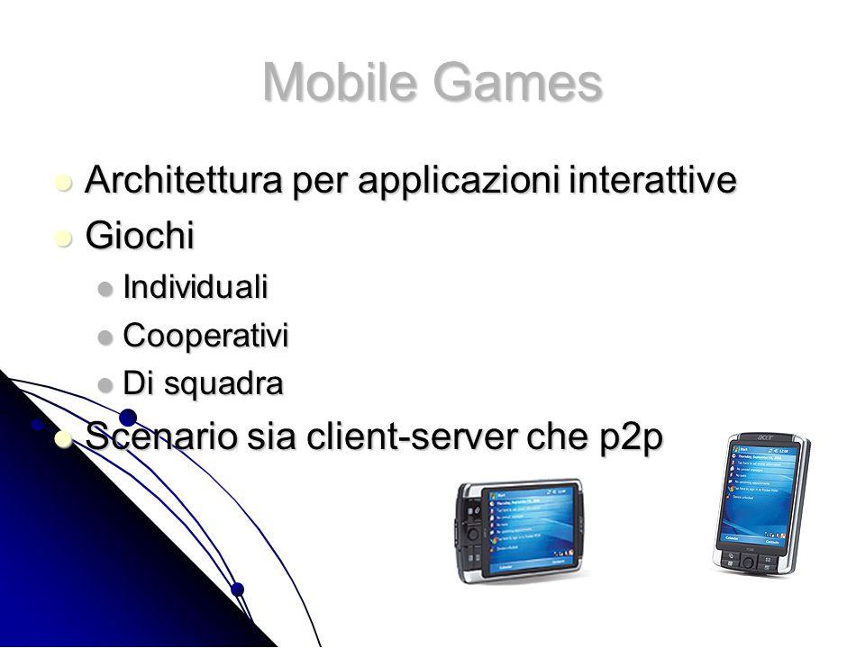 Mobile Games Architettura per applicazioni interattive Architettura per applicazioni interattive Giochi Giochi Individuali Individuali Cooperativi Cooperativi Di squadra Di squadra Scenario sia client-server che p2p Scenario sia client-server che p2p