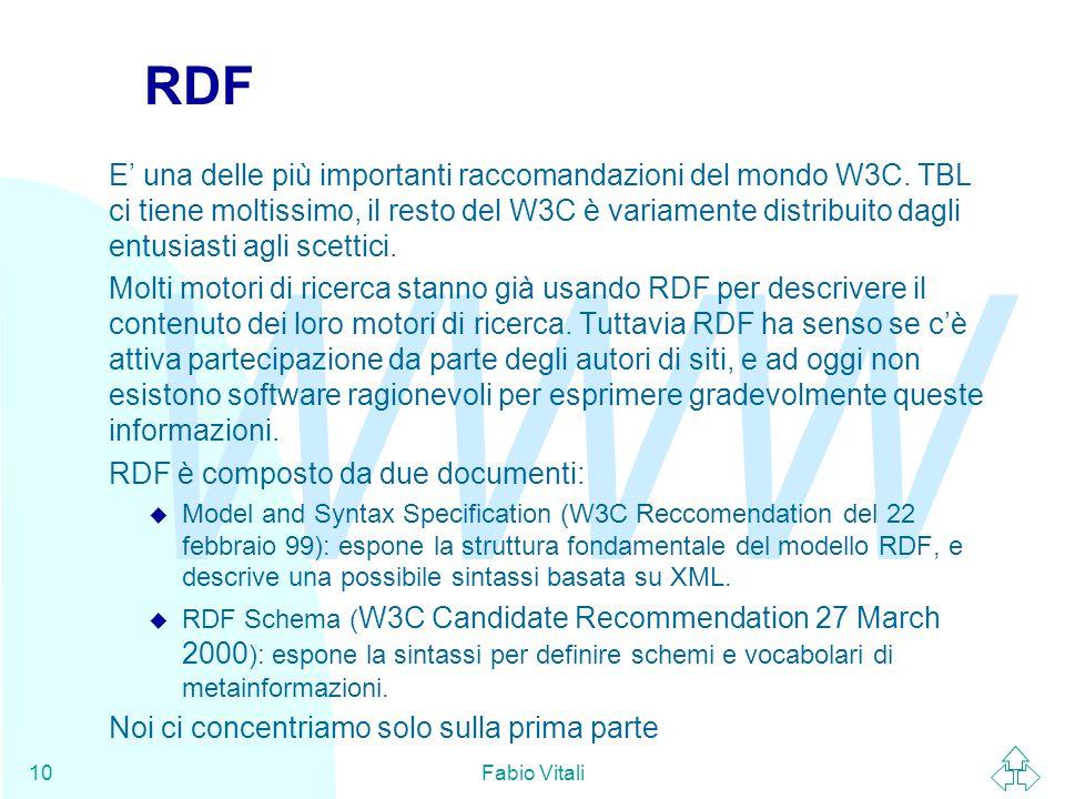 WWW Fabio Vitali10 RDF E' una delle più importanti raccomandazioni del mondo W3C. TBL ci tiene moltissimo, il resto del W3C è variamente distribuito d