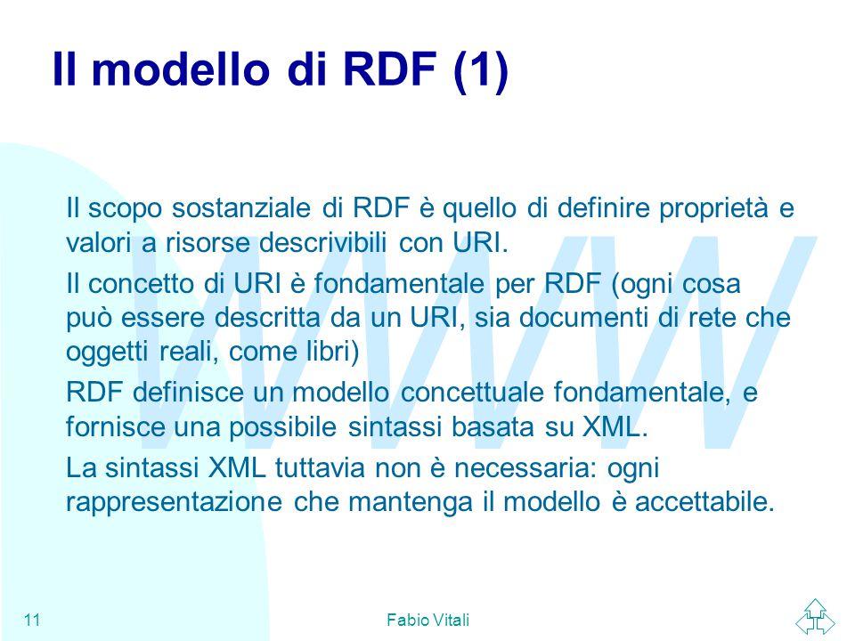 WWW Fabio Vitali11 Il modello di RDF (1) Il scopo sostanziale di RDF è quello di definire proprietà e valori a risorse descrivibili con URI. Il concet