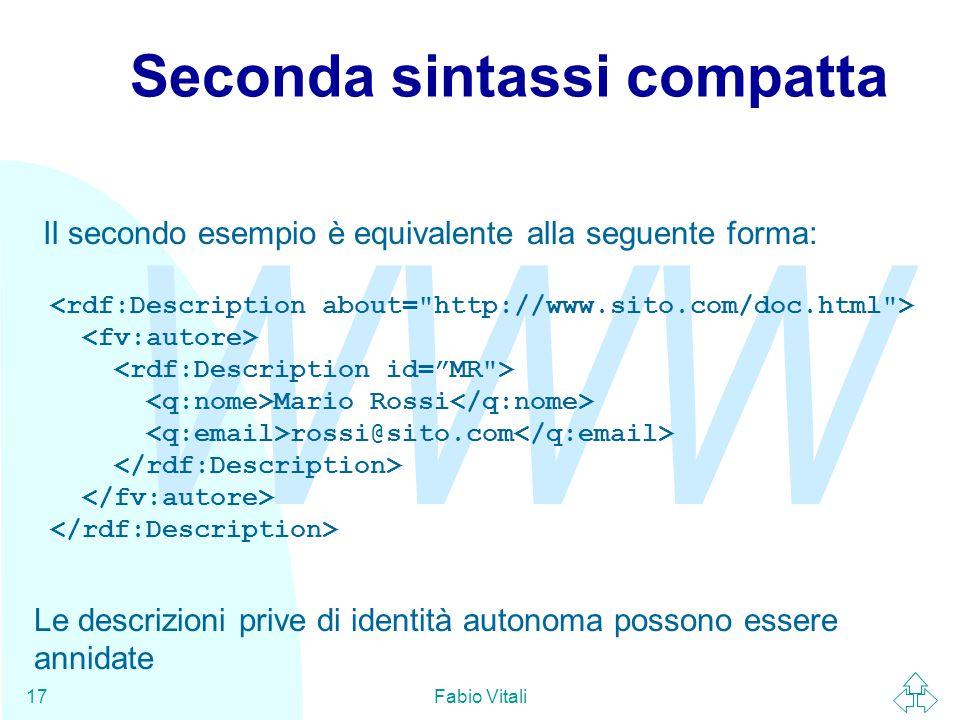 WWW Fabio Vitali17 Seconda sintassi compatta Il secondo esempio è equivalente alla seguente forma: Mario Rossi rossi@sito.com Le descrizioni prive di
