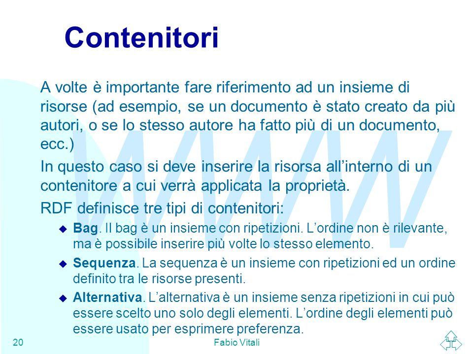 WWW Fabio Vitali20 Contenitori A volte è importante fare riferimento ad un insieme di risorse (ad esempio, se un documento è stato creato da più autor