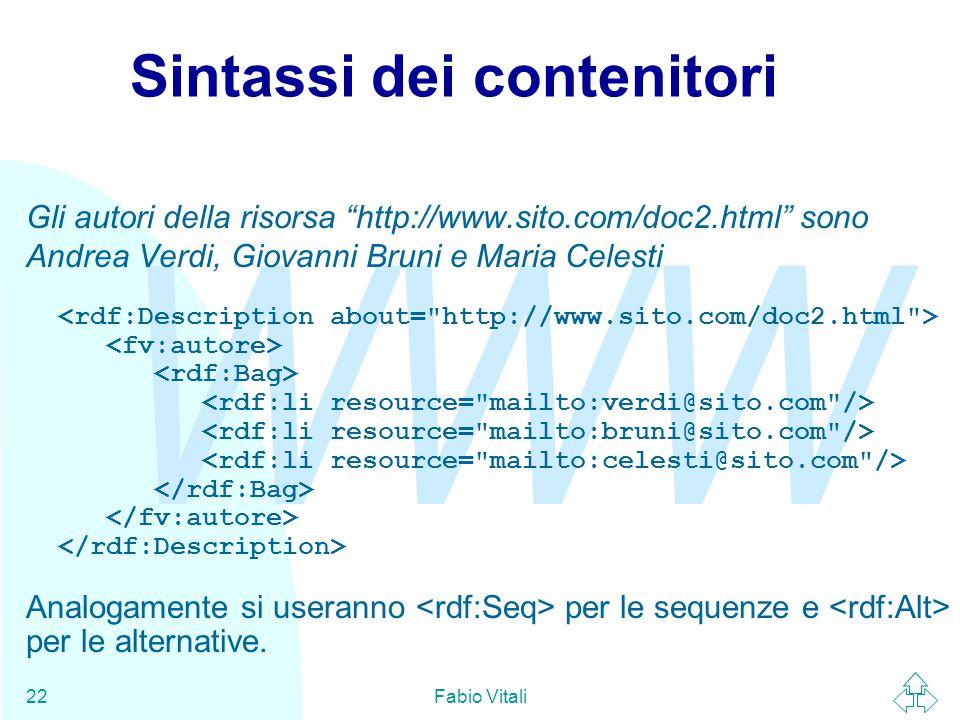 """WWW Fabio Vitali22 Sintassi dei contenitori Gli autori della risorsa """"http://www.sito.com/doc2.html"""" sono Andrea Verdi, Giovanni Bruni e Maria Celesti"""