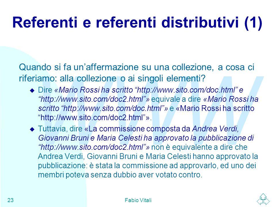 WWW Fabio Vitali23 Referenti e referenti distributivi (1) Quando si fa un'affermazione su una collezione, a cosa ci riferiamo: alla collezione o ai si