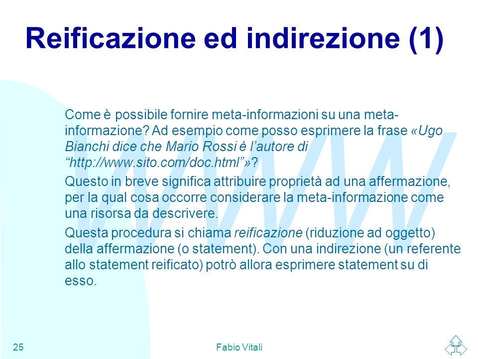 WWW Fabio Vitali25 Reificazione ed indirezione (1) Come è possibile fornire meta-informazioni su una meta- informazione? Ad esempio come posso esprime