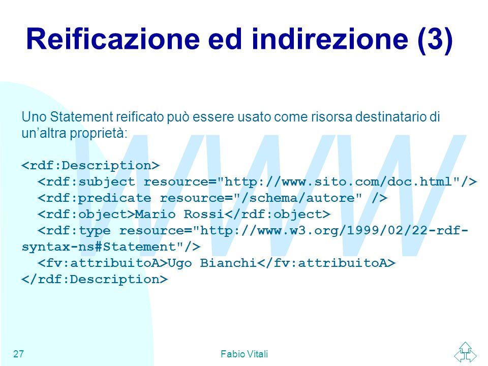 WWW Fabio Vitali27 Reificazione ed indirezione (3) Uno Statement reificato può essere usato come risorsa destinatario di un'altra proprietà: Mario Ros