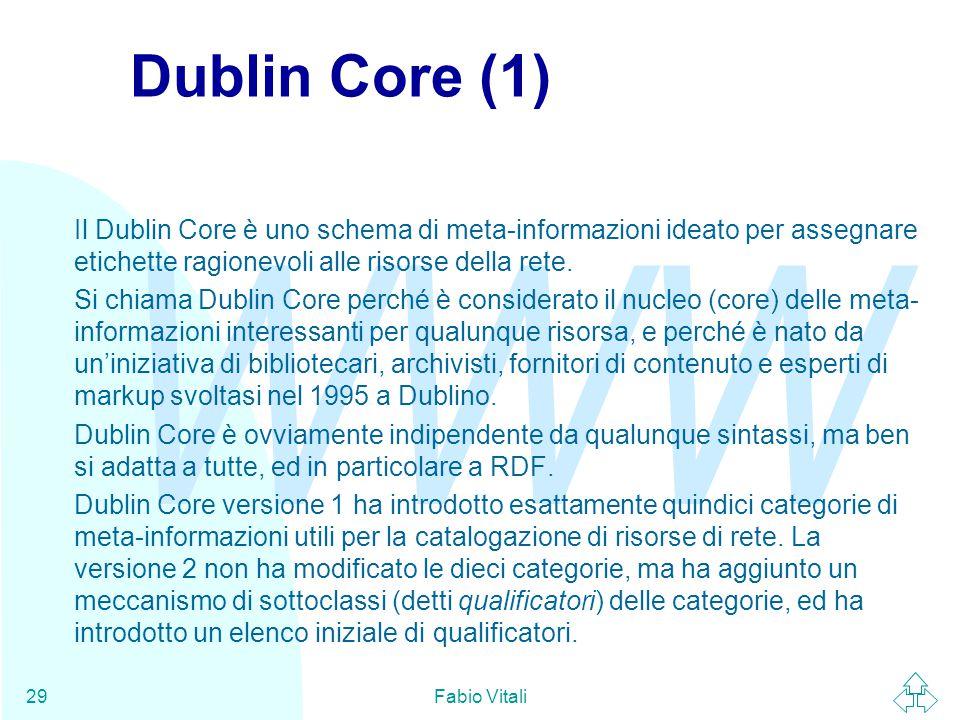 WWW Fabio Vitali29 Dublin Core (1) Il Dublin Core è uno schema di meta-informazioni ideato per assegnare etichette ragionevoli alle risorse della rete