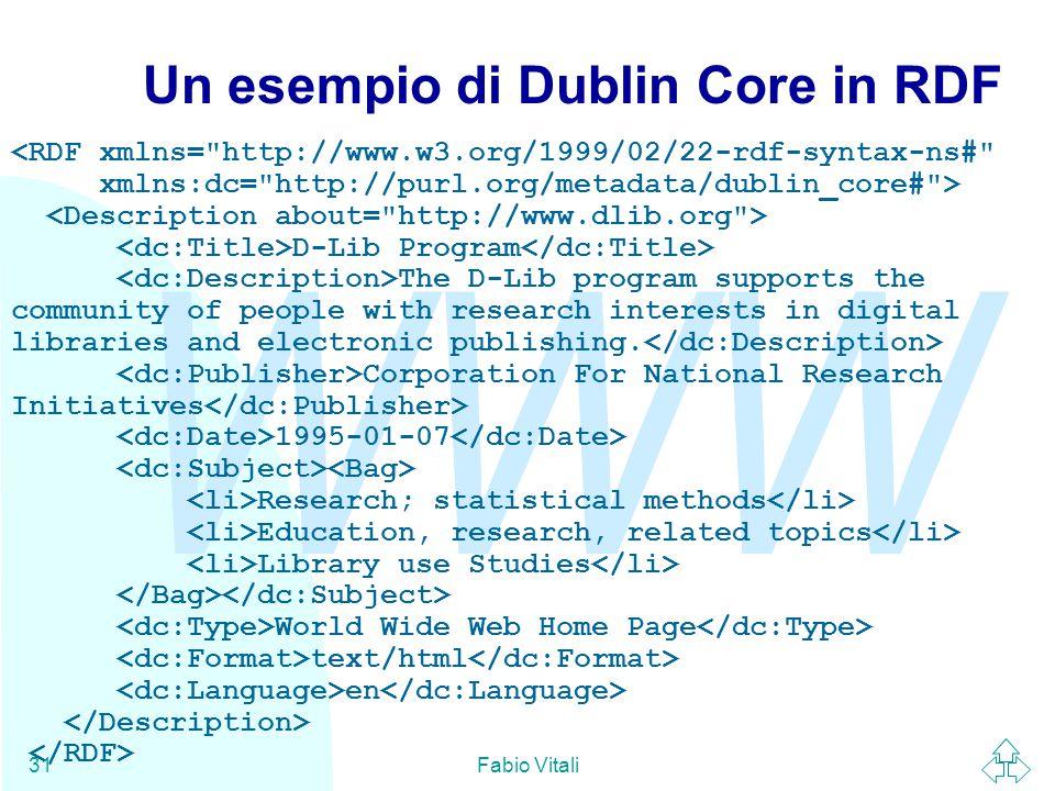 WWW Fabio Vitali31 Un esempio di Dublin Core in RDF <RDF xmlns=