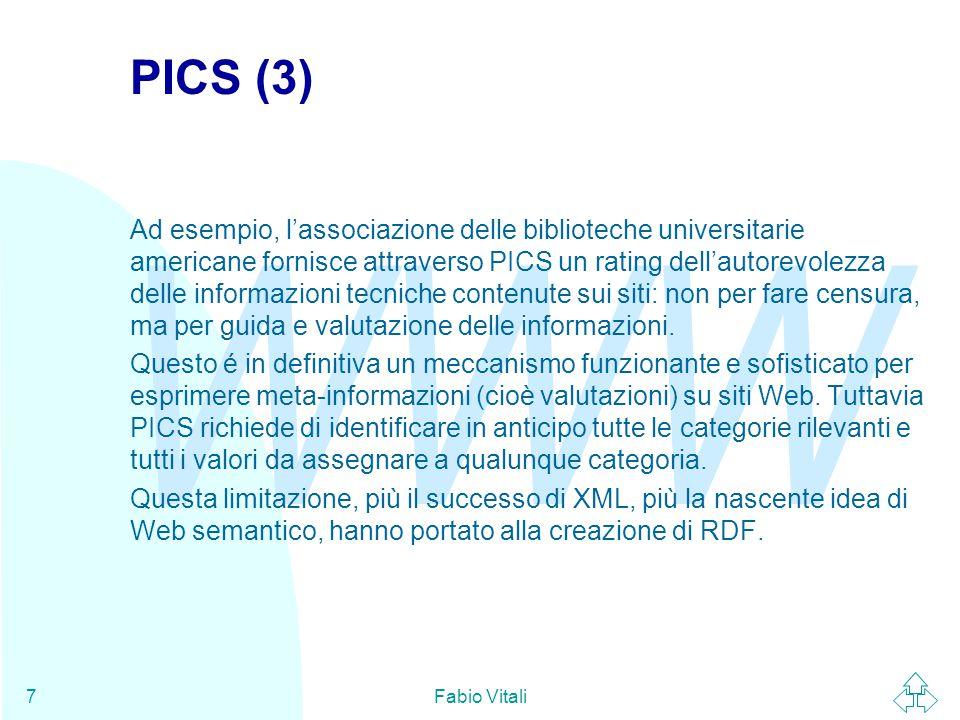 WWW Fabio Vitali18 Tipi E' possibile assegnare ad ogni Description un tipo appartenente ad uno schema di meta-informazioni (progettabile attraverso la definizione di schemi): Mario Rossi rossi@sito.com L'attributo type specifica l'URI della definizione del tipo nello schema usato.