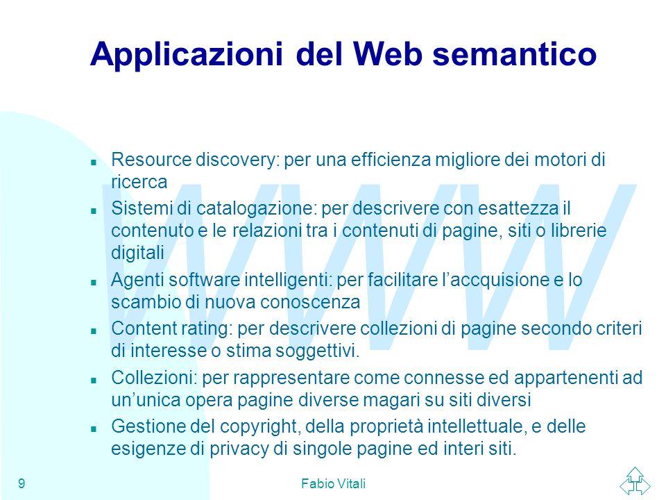 WWW Fabio Vitali9 Applicazioni del Web semantico n Resource discovery: per una efficienza migliore dei motori di ricerca n Sistemi di catalogazione: p