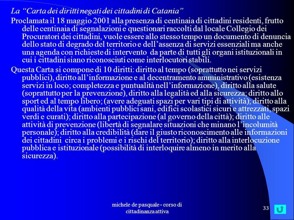 michele de pasquale - corso di cittadinanza attiva 32 Governance: un esempio All'inizio del 1997 i Procuratori dei cittadini hanno promosso un monitoraggio degli uffici postali.