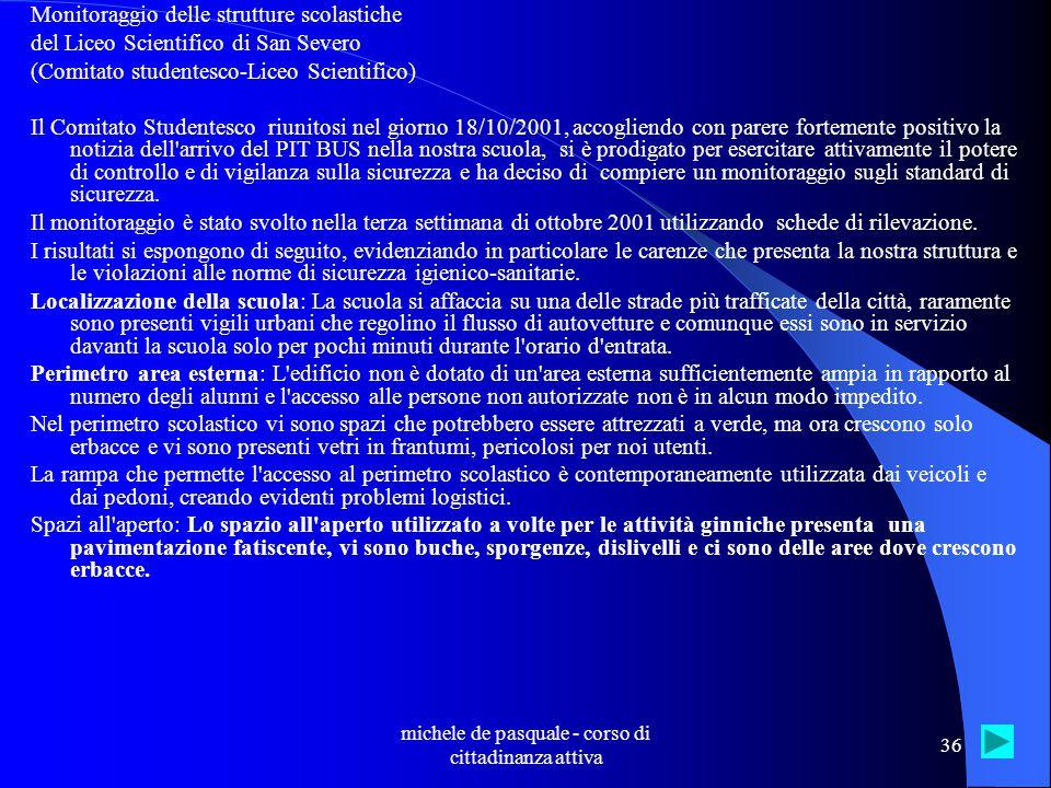 michele de pasquale - corso di cittadinanza attiva 35 Lo Statuto degli studenti e delle studentesse nelle scuole superiori italiane Nel quadro della collaborazione tra Movimento Studenti di Azione Cattolica e Cittadinanzattiva, è stata promossa una indagine sullo stato di attuazione dello Statuto delle studentesse e degli studenti negli istituti superiori.