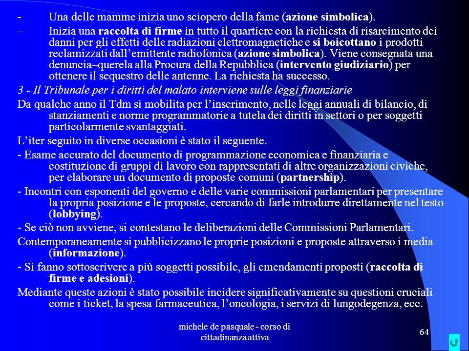 michele de pasquale - corso di cittadinanza attiva 63 L' emergenza idrica A Foggia l'acqua viene razionata dal mese di novembre.