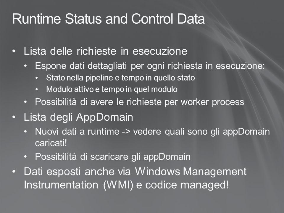 Runtime Status and Control Data Accesso via API Microsoft.Web.Administration Microsoft.Web.Administration ApplicationPool: Accesso ai WorkerProcess e allo stato del pool stesso ServerManager.ApplicationPools WorkerProcess: Esposti da ApplicationPool e ServerManager