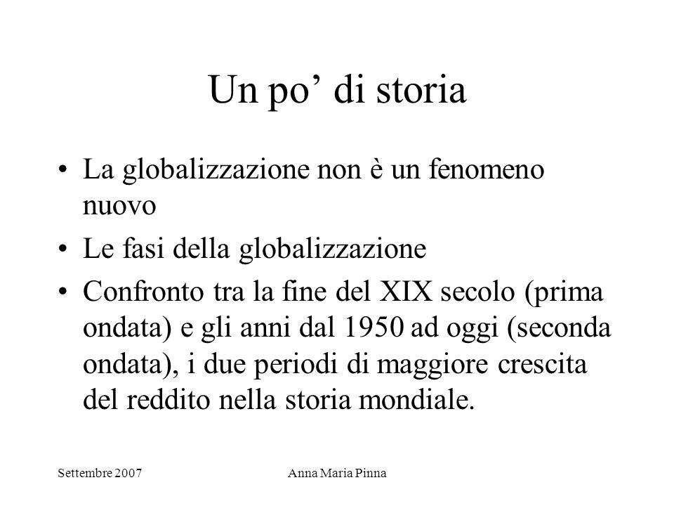 Settembre 2007Anna Maria Pinna Un po' di storia La globalizzazione non è un fenomeno nuovo Le fasi della globalizzazione Confronto tra la fine del XIX
