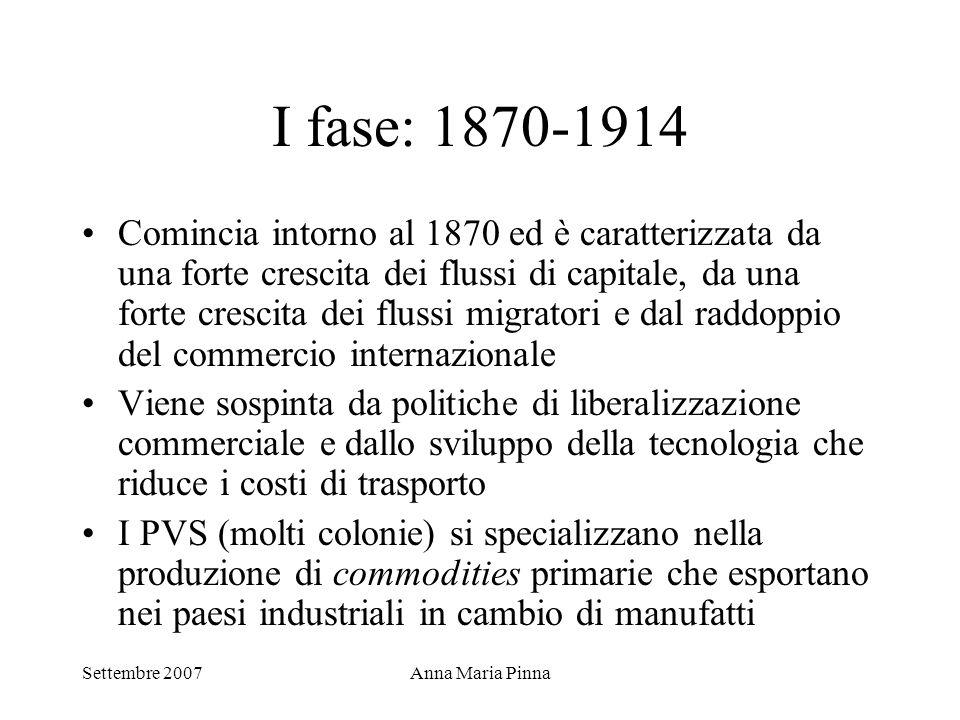 Settembre 2007Anna Maria Pinna I fase: 1870-1914 Comincia intorno al 1870 ed è caratterizzata da una forte crescita dei flussi di capitale, da una for