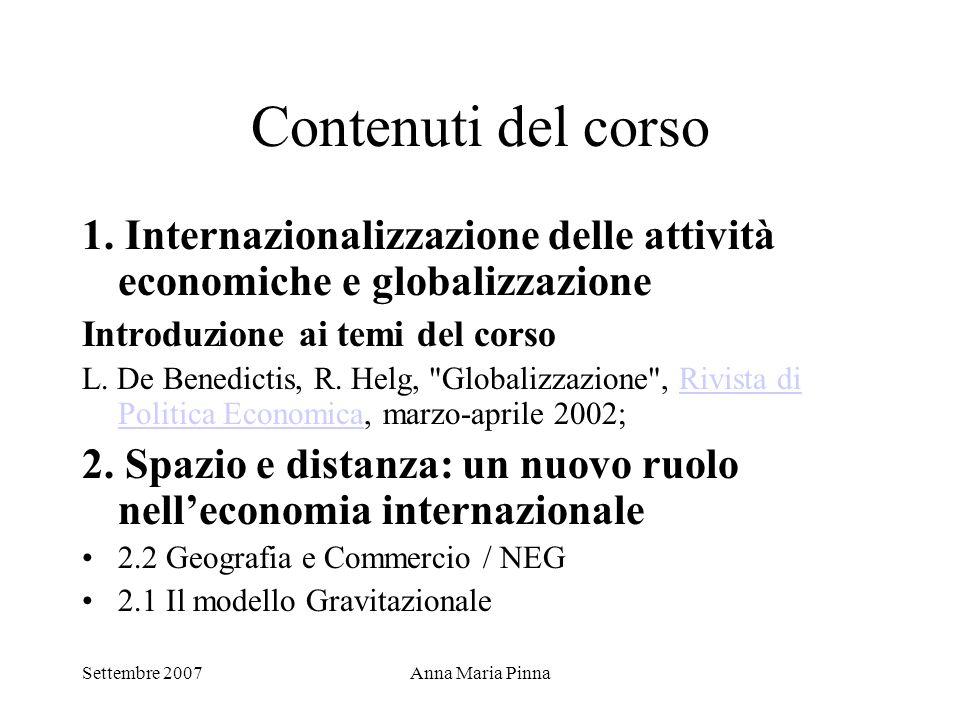 Settembre 2007Anna Maria Pinna Contenuti del corso 1. Internazionalizzazione delle attività economiche e globalizzazione Introduzione ai temi del cors