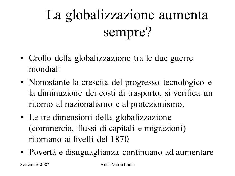 Settembre 2007Anna Maria Pinna La globalizzazione aumenta sempre? Crollo della globalizzazione tra le due guerre mondiali Nonostante la crescita del p