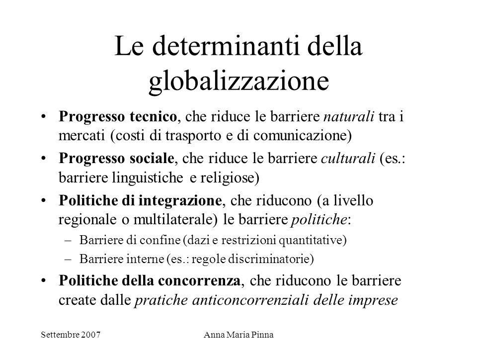 Settembre 2007Anna Maria Pinna Le determinanti della globalizzazione Progresso tecnico, che riduce le barriere naturali tra i mercati (costi di traspo
