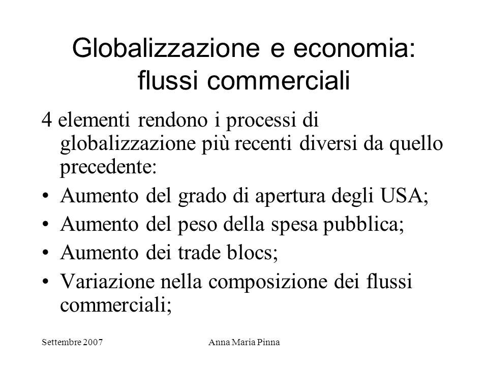 Settembre 2007Anna Maria Pinna Globalizzazione e economia: flussi commerciali 4 elementi rendono i processi di globalizzazione più recenti diversi da