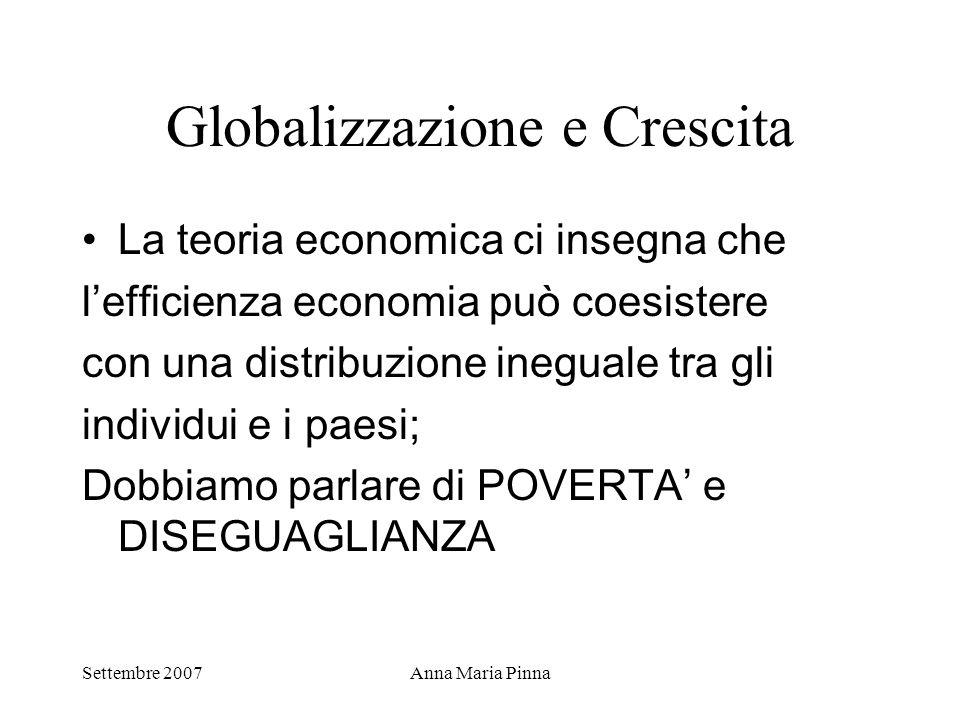 Settembre 2007Anna Maria Pinna Globalizzazione e Crescita La teoria economica ci insegna che l'efficienza economia può coesistere con una distribuzion