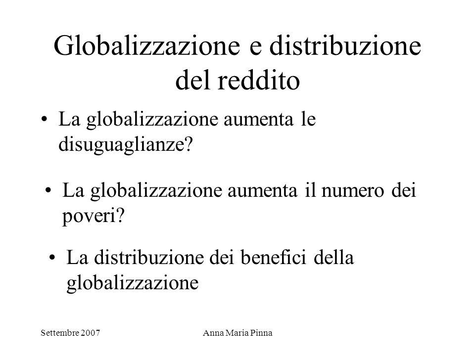 Settembre 2007Anna Maria Pinna Globalizzazione e distribuzione del reddito La globalizzazione aumenta le disuguaglianze? La globalizzazione aumenta il
